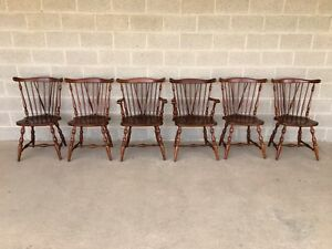 Henkel Harris Set Of 6 Solid Cherry Windor Brace Back Dining Chairs