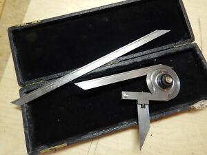 Vintage Starrett No 359 Universal Vernier Protractor With Case Machinist Tool