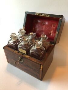Antique Rosewood Scent Perfume Bottle Casket Box Leather Lining Georgian 19th C