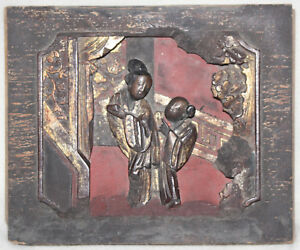 Chinese Late Qing 1900 1910 Hand Carved Shadow Box Women In Garden Scene Panel