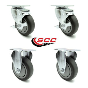 Service Caster 4 Gray Tpr Wheel 2 Rigid And 2 Swivel Casters W brakes