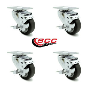 Scc 3 5 Thermoplastic Rubber Wheel Swivel Casters W brakes Set Of 4