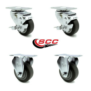 Scc 3 5 Thermoplastic Rubber Wheels Caster Set 4 2 Swivel W brakes 2 Rigid