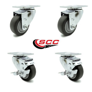 Scc 3 X 1 25 Thermo p Rubber Wheels Caster Set 4 2 Swivel W brakes 2 Swivel