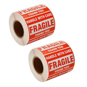 1000 Fragile Stickers 2x3 Handle With Care Thank You 500 Roll Warning Label