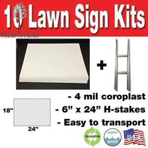 10 Quantity Blank Yard Signs 18x24 With H stakes For Garage Sale Signs Graduati