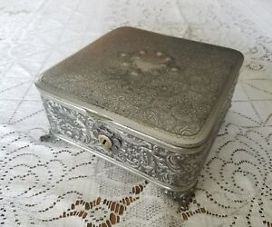 Antique Victorian Meriden Silver Quadrupled Plate Jewelry Box Inscribed Nellie