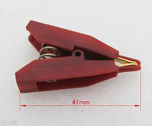 10pcs Red 41mm Copper Electric Kelvin Test Clip Screw Fixed 10a 10amp Gold Tip