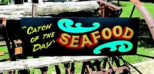 Vintage Look Seafood Sign catch Of The Day Restaurant Cafe Ocean Lobster Crab