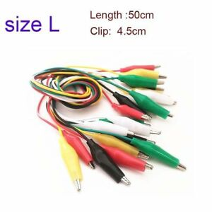 100x Dual ended Alligator Roach Clip Cable Jumper Wire Test Leads 50cm 5color