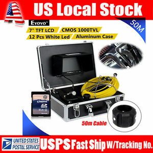 50m Borescope Inspection Camera 12 Led 7 Monitor For Sewer Pipe Pipeline Drain