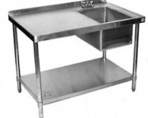 24x84 All Stainless Steel Kitchen Table With Prep Sink On Right