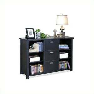 Beaumont Lane 3 Drawer Lateral Wood File Storage Bookcase In Black