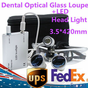Dental Medical Binocular Magnifying 3 5x420 Optical Glass Loupe led Head Light