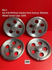 Bin 2 Set 4 92 99 Buick Lesabre Park Avenue Machine Wheel Center Caps Oem