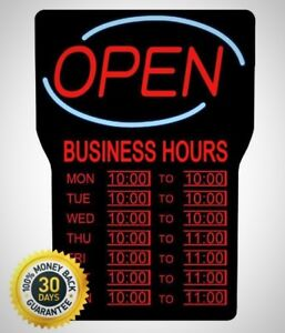 Royal Sovereign 15 In X 24 In Led Open Sign With Business Hours Brand New