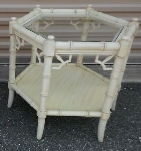 Thomasville Allegro Chinese Chippendale Faux Bamboo End Side Accent Table