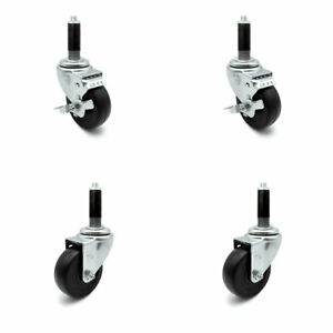 Scc 3 X 1 25 Hard Rubber Caster W 7 8 Expand Stem 2 Swivel 2 Swivel W brake