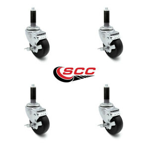 Scc 3 5 Hard Rubber Wheel Caster W 7 8 Expand Stem W brake Set Of 4