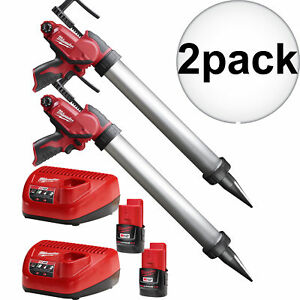 Milwaukee 2442 21 M12 Cordless 20oz Caulk And Adhesive Gun Kit 2x New
