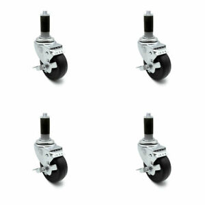 Scc 3 5 Hard Rubber Wheel Caster W 1 Expand Stem W brake Set Of 4