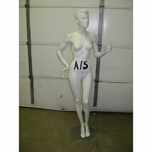 Chalk White Fiberglass Female Mannequin W Base A15