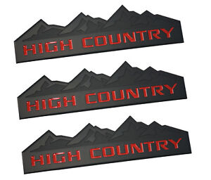 3x Oem High Country Emblems For Badge Door Tailgate 3d For Chevrolet Black Red