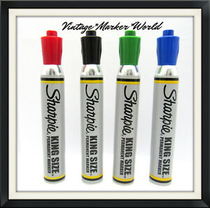 Nos 4 Color King Sz Sharpie Marker Set Blk Green Red Blue Vtg Solvent Ink Htf