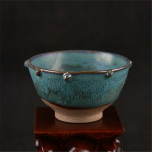Chinese Old Jun Kiln Blue Flower Glaze Drum Nail Porcelain Bowl