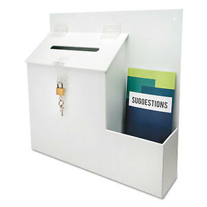 Plastic Suggestion Box With Locking Top 13 3 4 X 3 5 8 X 13 15 16 White