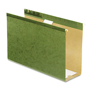 Reinforced 4 Extra Capacity Hanging Folders Legal Standard Green 25 box