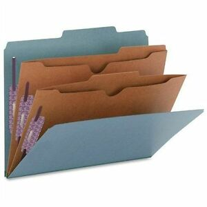Pressboard Folders With Two Pocket Dividers Letter Six section Blue 10 box
