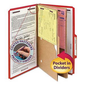 Pressboard Folders Two Pocket Dividers Legal Six section Bright Red 10 box
