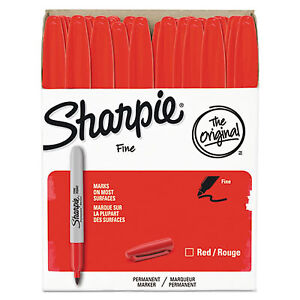 Fine Point Permanent Marker Red 36 pack