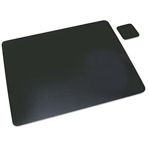 Leather Desk Pad W coaster 19 X 24 Black