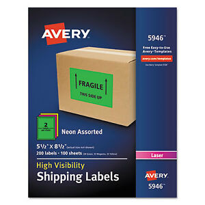 Neon Shipping Label Laser 5 1 2 X 8 1 2 Neon Assorted 200 box