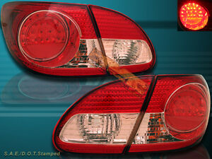 2003 2008 Toyota Corolla Led Red Clear Tail Lights 2004 2005 2006 2007