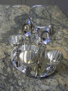 Older Sheffield Silver Extra Fancy Egg Cruet Set With Four Egg Cups And Spoons