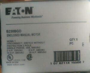 Eaton Enclosed Manual Motor Starter Switch Single Phase 30a 600vac B230bgd