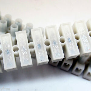 50pcs Electrical 12 Way Barrier Terminal Strip Block Pitch 8mm 5a 450v 22 12awg