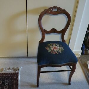 Antique Carved Walnut Balloon Back Parlor Chair With Needlepoint Seat