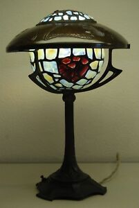 Antique Art Nouveau Deco Austrian French Bronze Jeweled Glass Arts Crafts Lamp