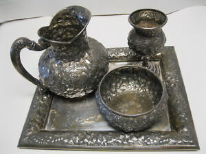Barbour Bros Silverplate Repousse 3 Piece Water Set Marked 79