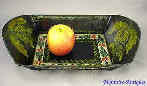 Antique Paint Decorated Cf Filley Tinware Bread Basket 19th Cent