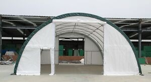 30x40x15 Canvas Fabric Tarp Storage Building Shelter Shop Metal Frame