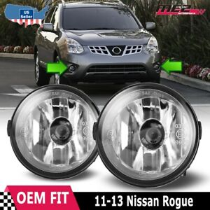 For Nissan Rogue 11 13 Factory Bumper Replacement Fit Fog Lights Clear Lens