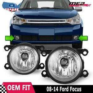 Fits 08 14 Ford Focus Pair Factory Bumper Replacement Fog Lights Clear Lens Dot