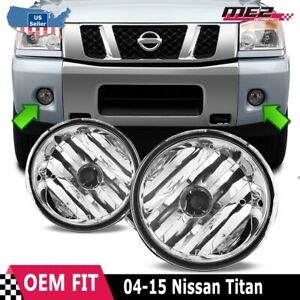 For Nissan Titan 04 14 Factory Bumper Replacement Fit Fog Lights Clear Lens
