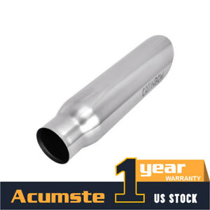 Silver Stainless Steel Exhaust Tip Rolled Weld On 25 Inlet 3 Outlet 12 Length