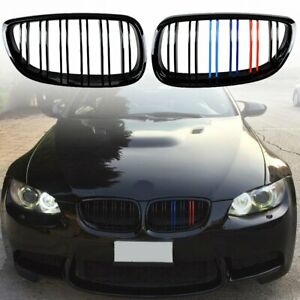 Gloss Black M Color Double Line Front Kidney Grille For 2007 2010 Bmw E92 E93 M3